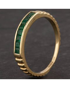 Second Hand 14ct Yellow Gold Princess Cut Emerald Eight Stone Ring