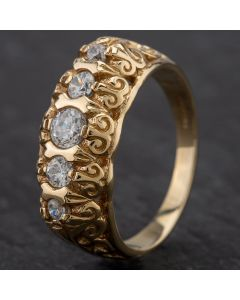 Second Hand 9ct Yellow Gold Cubic Zirconia 5 Stone Ring