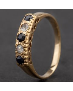 Second Hand 9ct Yellow Gold Cubic Zirconia And Sapphire Half Eternity Ring 4109942
