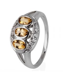Second Hand 9ct White Gold Brown Topaz and Diamond Three Stone Ring