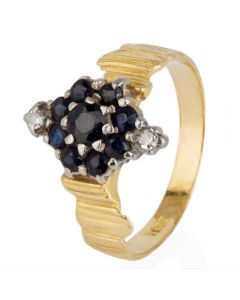 Second Hand Sapphire and Diamond Marquise Cluster Ring