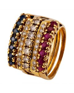 Second Hand Multi Gemstone Five Row Ring