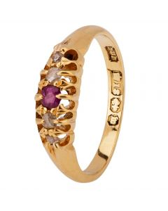 Second Hand 18ct Yellow Gold 1896 Ruby and Diamond Ring