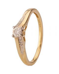 Second Hand 9ct Yellow Gold Illusion Diamond Ring