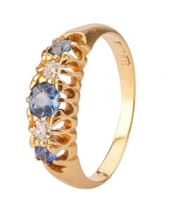 Second Hand Sapphire and Diamond Five Stone Ring