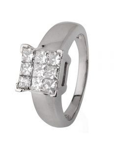 Second Hand 18ct White Gold Square Diamond Cluster Ring