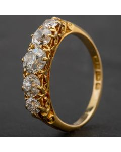Second Hand 18ct Yellow Gold Five Stone Old Cut Diamond Ring 4112146