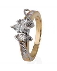 Second Hand 14ct Yellow Gold Marquise Diamond Three Stone Cluster Ring