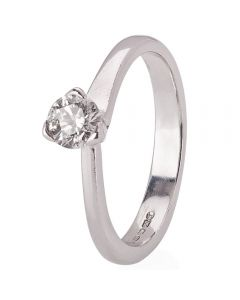 Second Hand 18ct White Gold Diamond Solitaire Ring 4112364