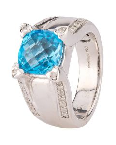 Second Hand 9ct White Gold Blue Topaz and Diamond Ring