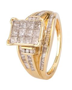 Second Hand 9ct Yellow Gold Multi Diamond Cluster Ring