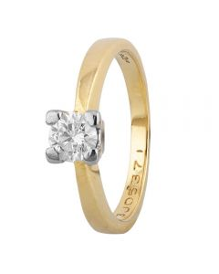 Second Hand 18ct Yellow Gold 0.41ct Diamond Solitaire Ring