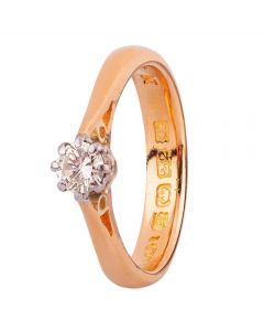 Second Hand 22ct Yellow Gold 0.25ct Diamond Solitaire Ring
