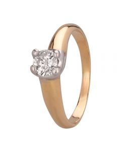 Second Hand 18ct Two Colour Gold 0.50ct Diamond Solitaire Twist Ring