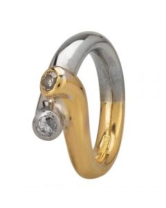 Second Hand 18ct Two Colour Gold Diamond Twist Ring 4112606