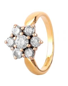 Second Hand 18ct Yellow Gold 0.85ct Diamond Cluster Ring
