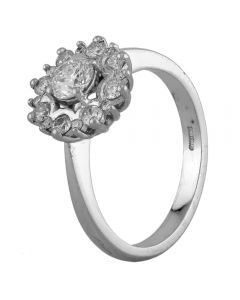 Second Hand Platinum 1.06ct Diamond Cluster Ring