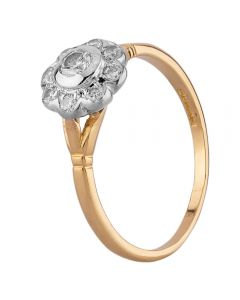 Second Hand 18ct Yellow Gold Diamond Daisy Cluster Ring