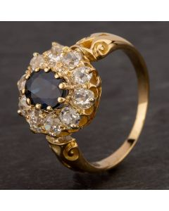 Second Hand 9ct Yellow Gold Old Cut Diamond Sapphire Ring 4112773