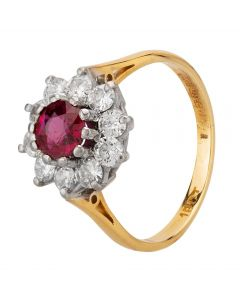 Second Hand 18ct Yellow Gold 1.00ct Ruby and Diamond Cluster Ring T605516(455)