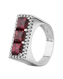 Second Hand 18ct White Gold Cabachon Garnet and Diamond Ring P437564(457)