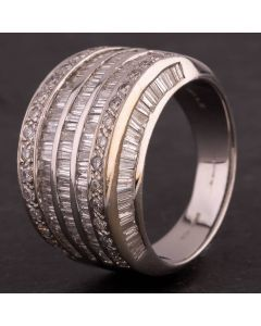 Second Hand 14ct White Gold Baguette and Brilliant 2.50ct Diamond Five Row Wide Band Ring