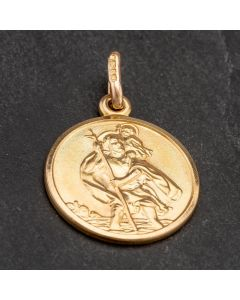 Second Hand 9ct Yellow Gold Small Round St.Christopher Loose Pendant 4114274