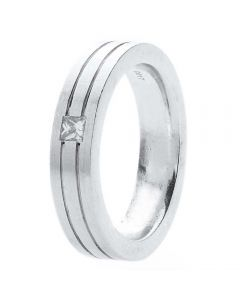 Second Hand 18ct White Gold Diamond Set 5mm Grooved Wedding Ring