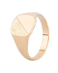 Second Hand 9ct Yellow Gold Cushion Half Engraved Signet Ring HGM26/03/25(04/19)