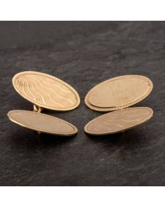 Second Hand 9ct Yellow Gold Sunray Engraved Double Cufflinks 4119545