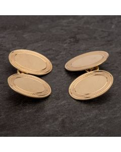 Second Hand 9ct Yellow Gold Oval Double Cufflinks