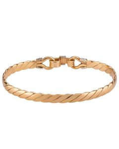 Second Hand 9ct Two Colour Gold Plaited Bangle