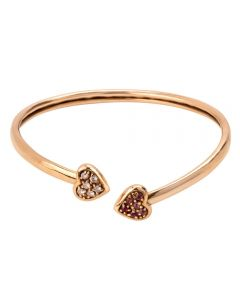 Second Hand 9ct Yellow Gold Multi-Coloured Cubic Zirconia Heart Bangle