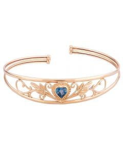 Second Hand 9ct Yellow Gold Blue Topaz Heart Patterned Bangle 4121035