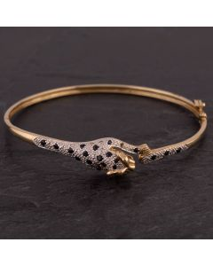 Second Hand 9ct Yellow Gold Sapphire and Diamond Panther Hinged Bangle