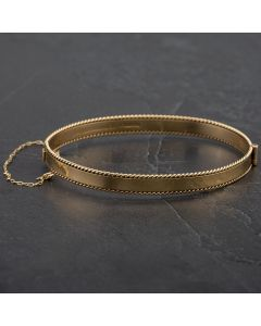 Second Hand 9ct Yellow Gold Half Engraved Oval Hinged Bangle 4121176