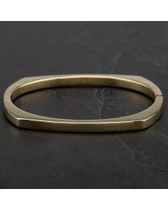 Second Hand 9ct Yellow Gold Standard Oblong Hinged Bangle 4121178