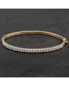 Second Hand 9ct Yellow Gold Cubic Zirconia Hinged Bangle 4121198