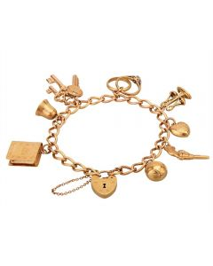 Second Hand 9ct Yellow Gold Curb Chain Padlock Charm Bracelet