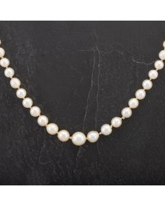 """Second Hand Graduated 20"""" Silver Clasp Cultured Pearl Necklace 4127753"""