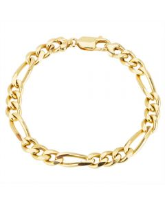 Second Hand 9ct Yellow Gold Figaro Chain Bracelet 4128949