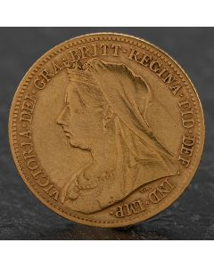 Second Hand Queen Victoria 1899 Half Sovereign Coin