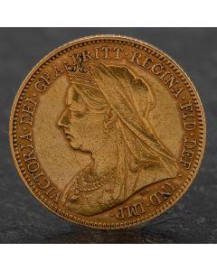 Second Hand Queen Victoria 1901 Half Sovereign Coin