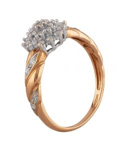 Second Hand 9ct Yellow Gold Diamond Tiered Cluster Ring