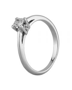 Second Hand 18ct White Gold 0.15ct Princess Cut Diamond Solitaire Ring