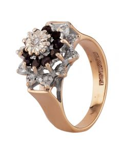 Second Hand 9ct Yellow Gold Sapphire and Diamond Flower Cluster Ring