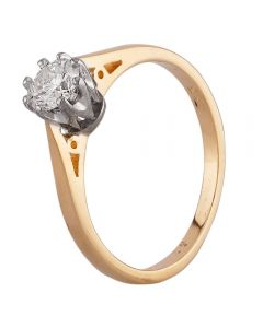 Second Hand 18ct Yellow Gold 0.33ct Diamond Solitaire Ring