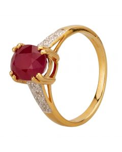 Second Hand 18ct Yellow Gold Ruby and Diamond Solitaire Ring