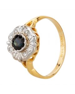 Second Hand Yellow Gold Rubover Sapphire and Diamond Cluster Ring