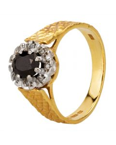 Second Hand 9ct Yellow Gold Oval Sapphire and Diamond Cluster Ring
